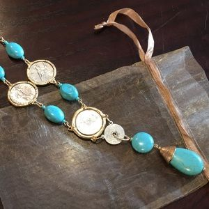 Chico's Turquoise & Coin Short Necklace